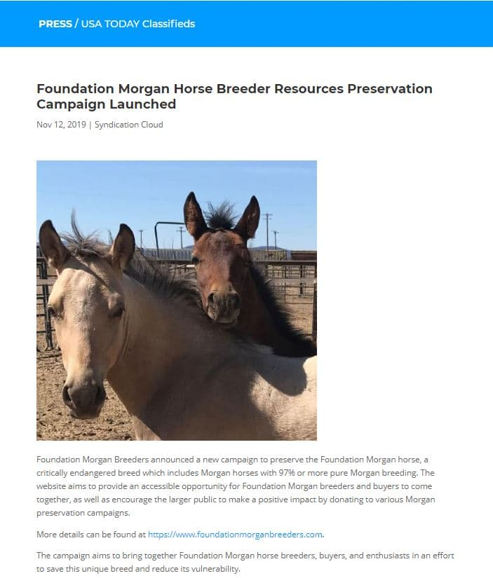 USA Today Foundation Morgan Breeders Announcement